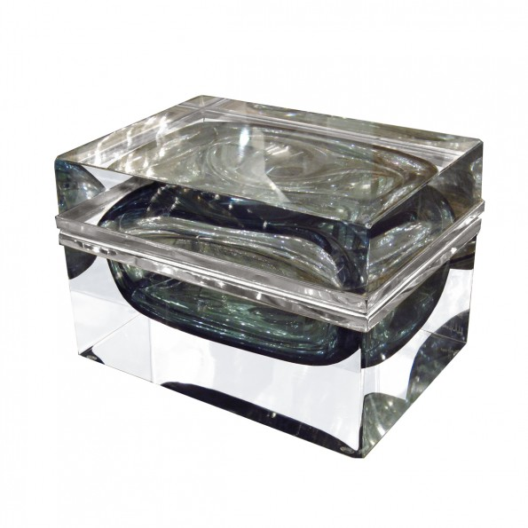 Monumental Rectangular Covered Murano Glass Box Boxes